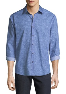 Neiman Marcus Men's Slim-Fit Regular-Finish Digitalized Floral-Print Sport Shirt