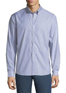 Neiman Marcus Men's Slim-Fit Regular Finish Dobby-Stripe Sport Shirt
