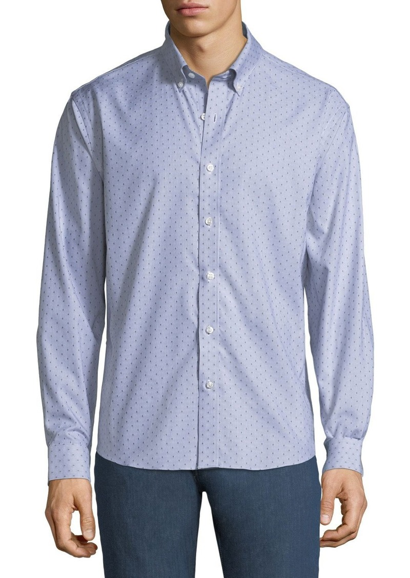 Neiman Marcus Men's Slim-Fit Regular Finish Dobby-Stripe Sport Shirt