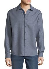 Neiman Marcus Men's Slim-Fit Regular-Finish Double-Faced Dobby Sport Shirt