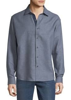 Neiman Marcus Men's Slim-Fit Regular-Finish Double-Faced Dobby Sport Shirt