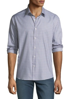 Neiman Marcus Men's Slim-Fit Regular-Finish Twill Check Sport Shirt