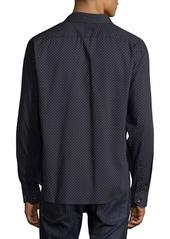 Neiman Marcus Men's Slim Fit Regular Finish Wear It Out Dobby Dot Sport Shirt