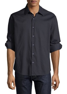 Neiman Marcus Men's Slim Fit Regular Finish Wear It Out Dobby Dot Sport Shirt