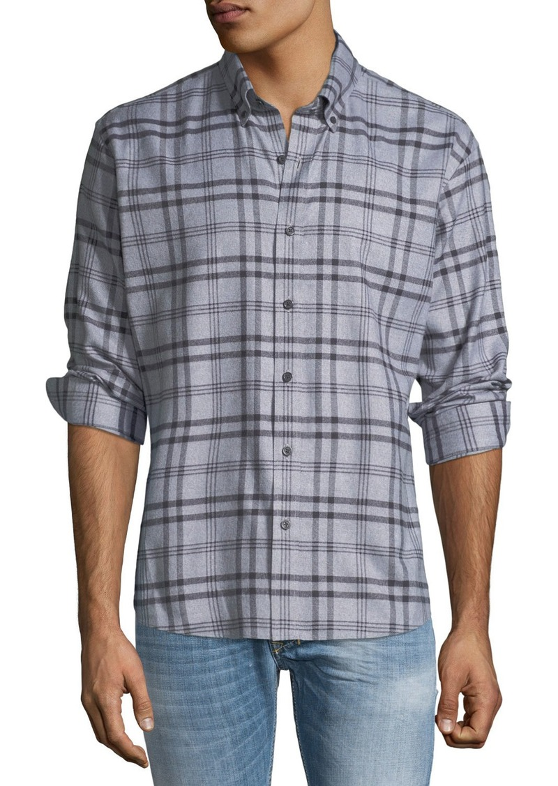 Neiman Marcus Men's Slim Fit Regular Finish Wear It Out Jasper Check Shirt
