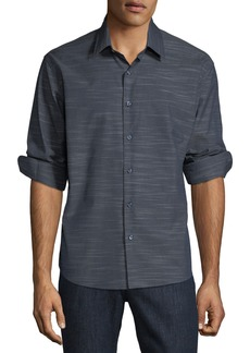 Neiman Marcus Men's Slim Fit Regular Finish Wear It Out Space Dye Stripe Sport Shirt
