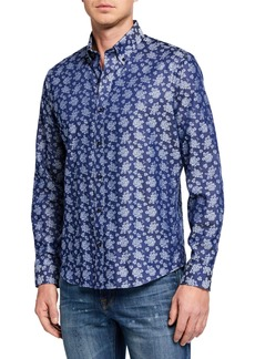 Neiman Marcus Men's Slim-Fit Untuck Sport Shirt