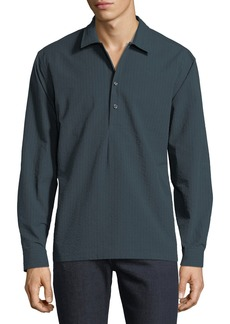 Neiman Marcus Men's Slim-Fit Wear-It-Out Seersucker Check Sport Shirt