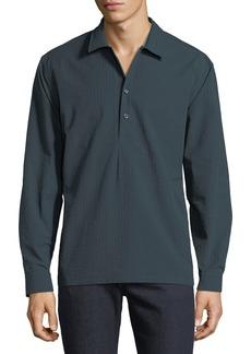 Neiman Marcus Men's Slim-Fit Wear-It-Out Seersucker Check Sport Shirt