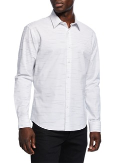 Neiman Marcus Men's Slim-Fit Wear-It-Out Slub Space-Dye Sport Shirt