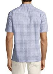 Neiman Marcus Men's Slim-Fit Wear-It-Out Square Print Sport Shirt