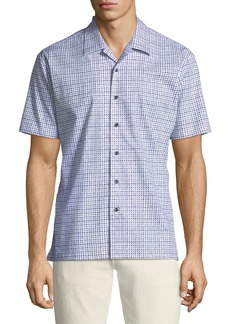 Neiman Marcus Men's Slim-Fit Wear-It-Out Square Print Sport Shirt