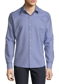 Neiman Marcus Men's Slim-Fit Wear-It-Out Striped Shirt