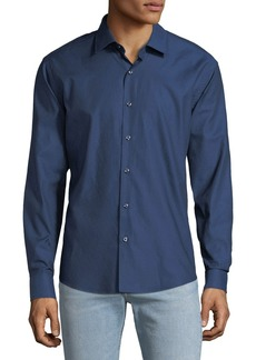 Neiman Marcus Men's Slim-Fit Wear-It-Out Texture Solid Sport Shirt