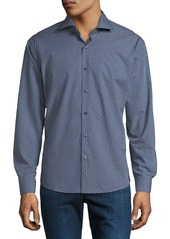 Neiman Marcus Men's Slim-Fit Wear-It-Out Textured Sport Shirt