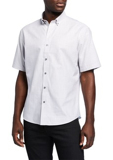 Neiman Marcus Men's Slub Plain Short-Sleeve Sport Shirt