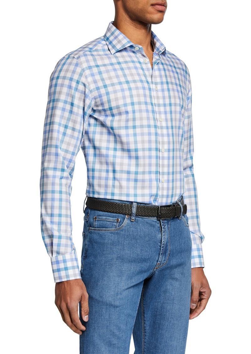 Neiman Marcus Men's Small-Check Sport Shirt  Aqua