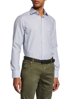 Neiman Marcus Men's Small-Check Sport Shirt  Brown
