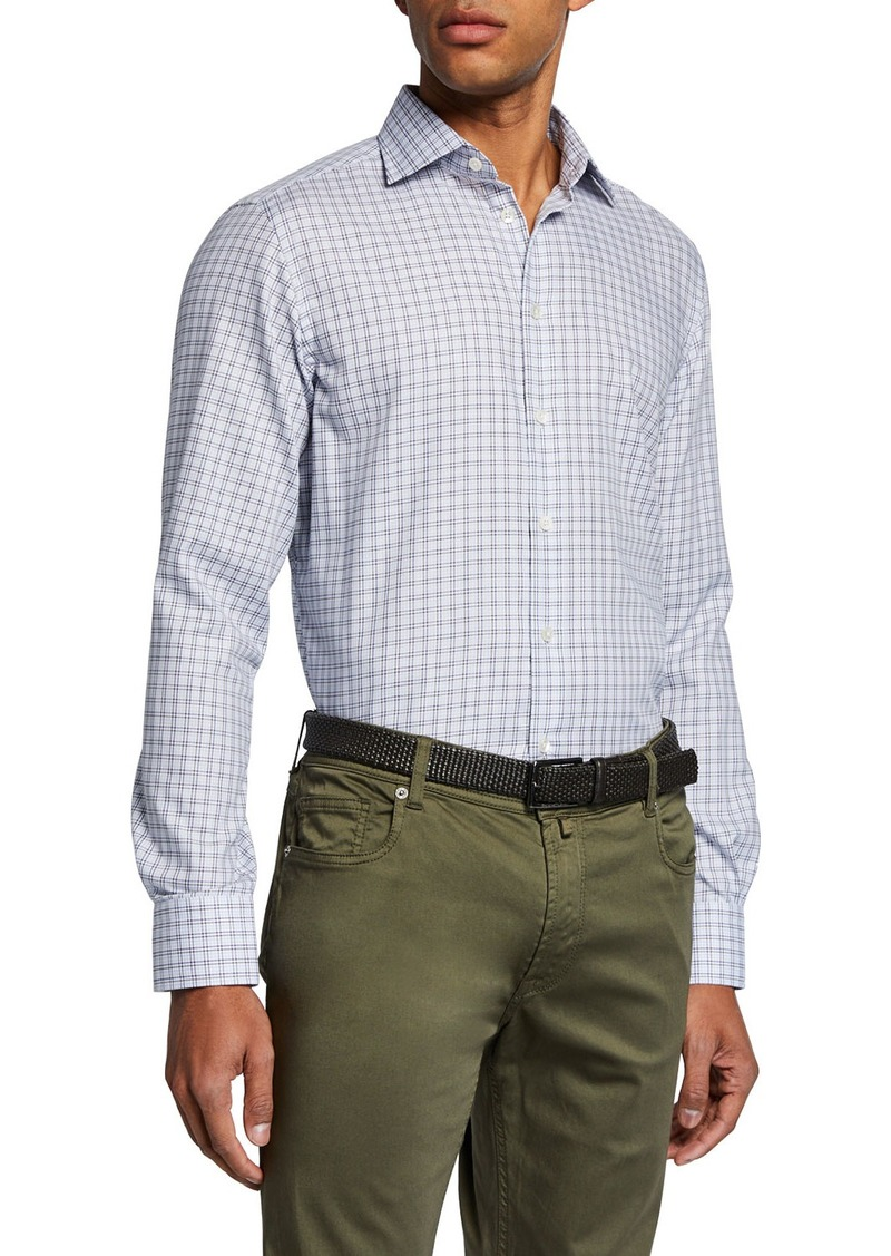 Neiman Marcus Men's Small-Check Sport Shirt  Brown