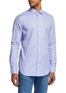 Neiman Marcus Men's Small-Check Sport Shirt  Lilac