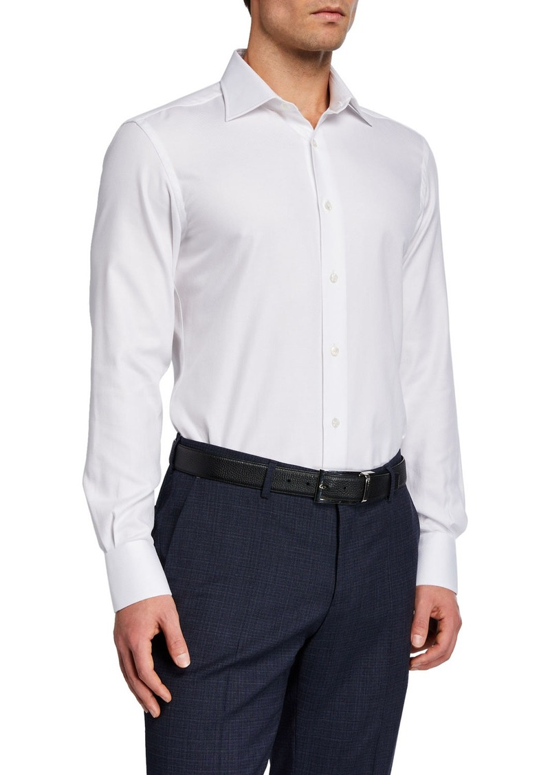 Neiman Marcus Men's Solid Cotton Pointed-Collar Dress Shirt