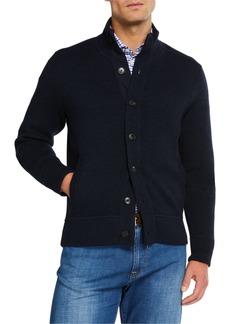 Neiman Marcus Men's Solid Merino Wool Cardigan Sweater