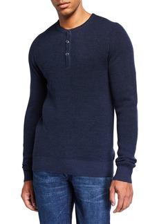 Neiman Marcus Men's Solid Waffle-Knit Henley Shirt