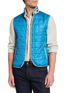 Neiman Marcus Men's Square Quilted Zip-Front Vest