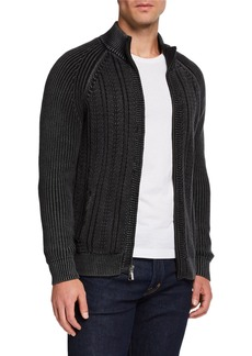 Neiman Marcus Men's Stand Collar Cable Cardigan