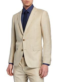 Neiman Marcus Men's Striped Linen Two-Piece Trim-Fit Suit  Beige