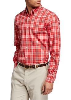 Neiman Marcus Men's Tartan Check Sport Shirt
