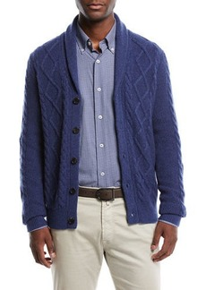 Neiman Marcus Men's Textured Cable-Knit Shawl-Collar Cashmere Cardigan