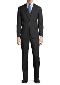 Neiman Marcus Men's Three-Piece Wool Suit  Black