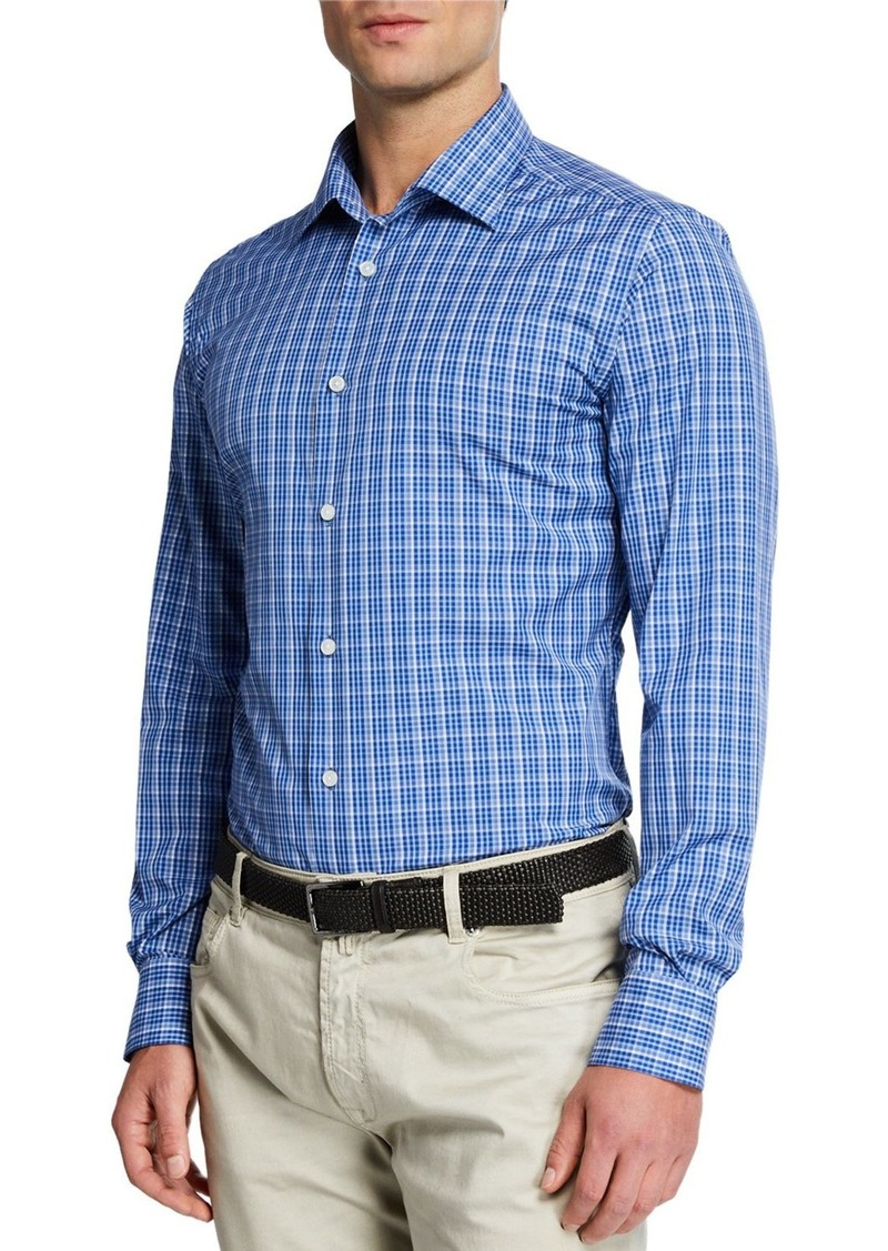Neiman Marcus Men's Tonal Plaid Sport Shirt