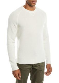 Neiman Marcus Men's Tuck-Stitch Cashmere Crewneck Sweater