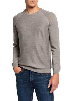 Neiman Marcus Men's Twill Front Raglan Sleeve Sweater