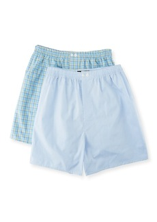 Neiman Marcus Men's Two-Pack Classic Boxers Set - Check & Solid