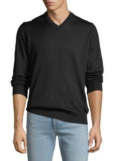 Neiman Marcus Men's V-Neck Long-Sleeve Sweater