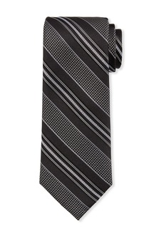 Neiman Marcus Men's Variegated Striped Silk Tie