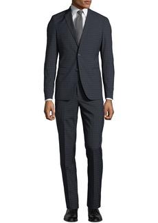 Neiman Marcus Men's Windowpane Wool-Twill Two-Piece Suit  Black/Blue