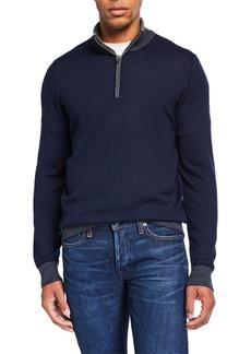 Neiman Marcus Men's Wool-Blend Sweater with Stripe Details