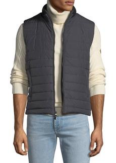 Neiman Marcus Men's Zip-Front Puffer Vest  Gray/Black