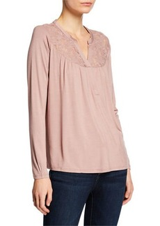 Neiman Marcus Mesh Embroidered V-Neck Blouse