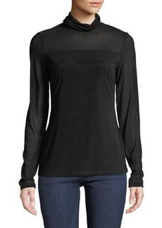 Neiman Marcus Mesh-Trimmed Turtleneck Illusion Sweater