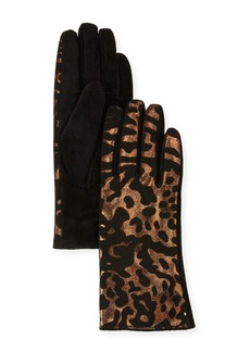 Neiman Marcus Metallic Animal-Print Leather Gloves