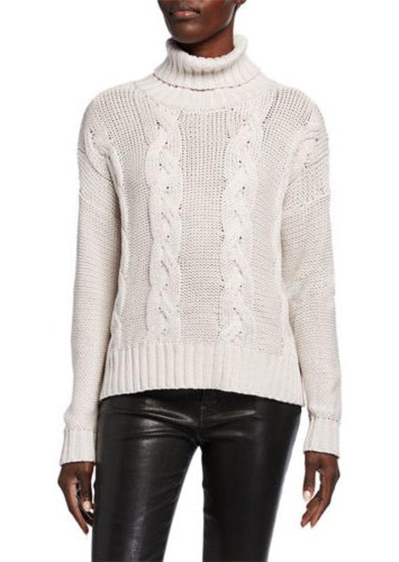 Neiman Marcus Metallic Cable Knit Turtleneck Sweater