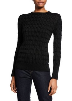 Neiman Marcus Metallic Cashmere Crewneck Cable Sweater