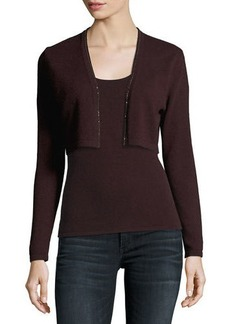 Neiman Marcus Metallic Chain-Trim Cashmere Shrug