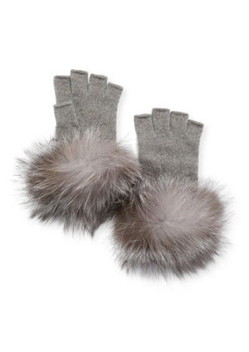 Metallic Knit Fingerless Gloves w/ Fur Cuffs