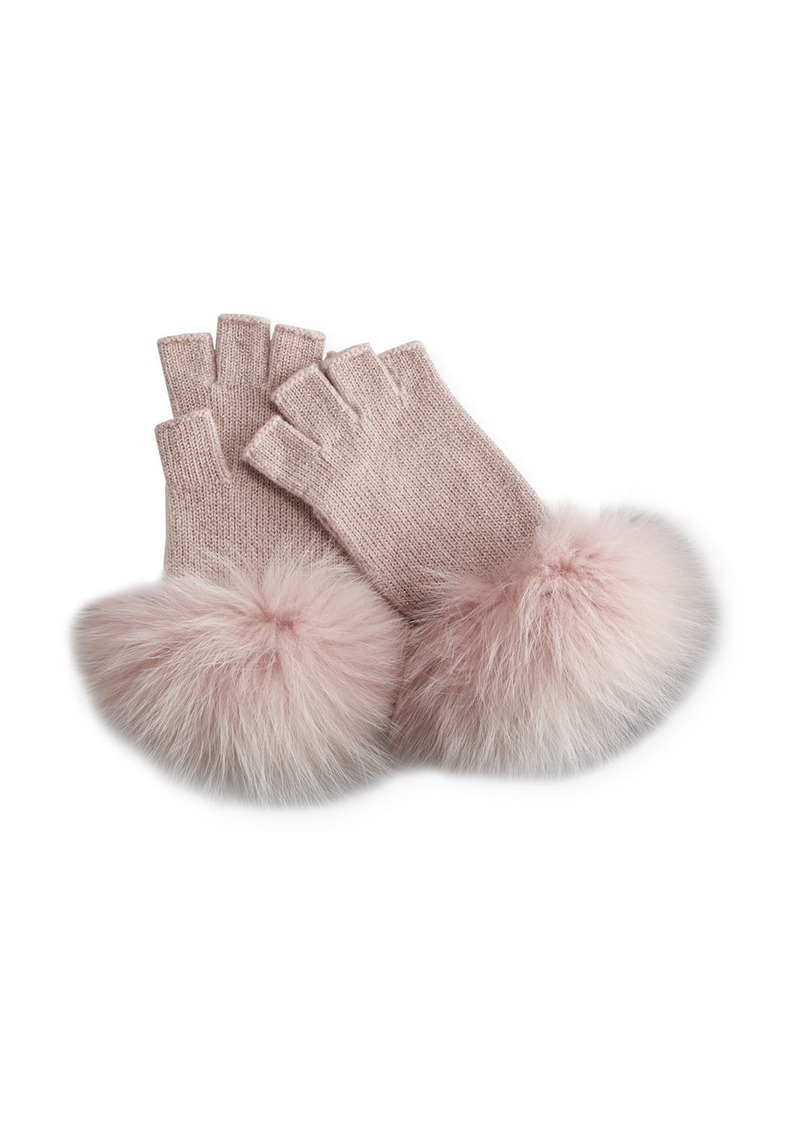 Neiman Marcus Metallic Knit Fingerless Gloves w/ Fur Cuffs